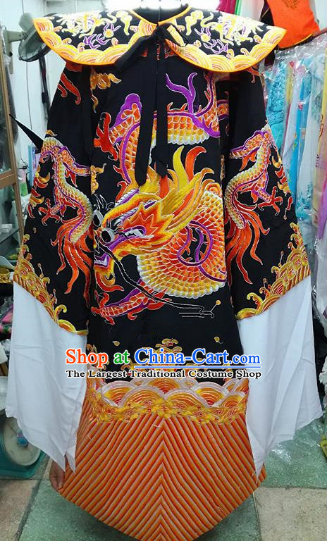 Chinese Traditional Beijing Opera Minister Costume Peking Opera Old Men Black Embroidered Robe for Adults