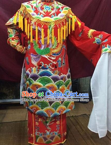 Chinese Traditional Beijing Opera Queen Red Water Sleeve Dress Peking Opera Actress Costume for Adults