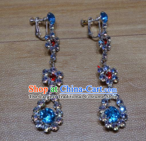Chinese Traditional Beijing Opera Blue Crystal Earrings Peking Opera Diva Ear Accessories for Adults