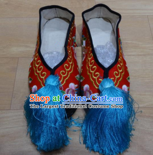 Chinese Traditional Beijing Opera Diva Embroidered Shoes Princess Red Shoes for Adults