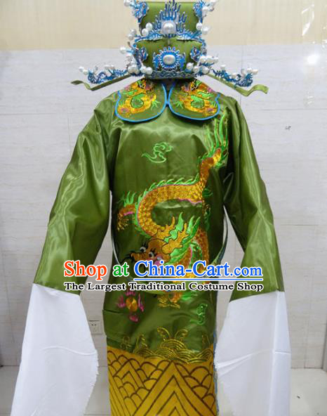 Chinese Traditional Beijing Opera Prime Minister Green Embroidered Robe Peking Opera Old Men Costume for Adults