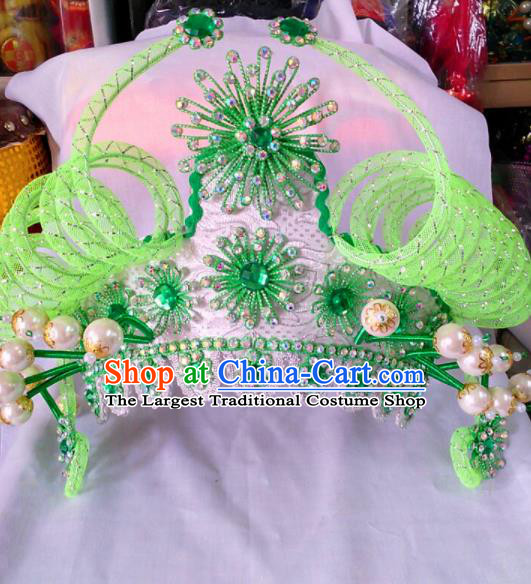 Chinese Traditional Beijing Opera Female Warriors Green Phoenix Coronet Hair Accessories for Adults