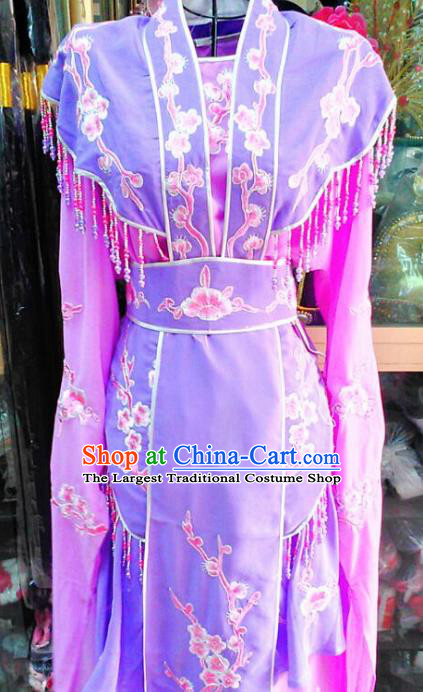 Chinese Traditional Beijing Opera Actress Princess Purple Dress Peking Opera Peri Costume for Adults