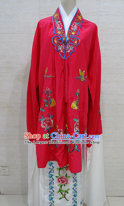 Chinese Traditional Beijing Opera Embroidered Peony Rosy Dress Peking Opera Diva Costume for Adults