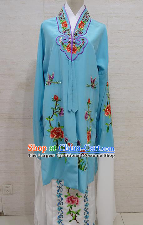 Chinese Traditional Beijing Opera Embroidered Peony Blue Dress Peking Opera Diva Costume for Adults