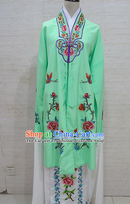 Chinese Traditional Beijing Opera Embroidered Peony Green Dress Peking Opera Diva Costume for Adults