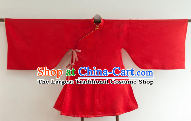 Chinese Ancient Princess Historical Costume Ming Dynasty Red Silk Blouse for Women
