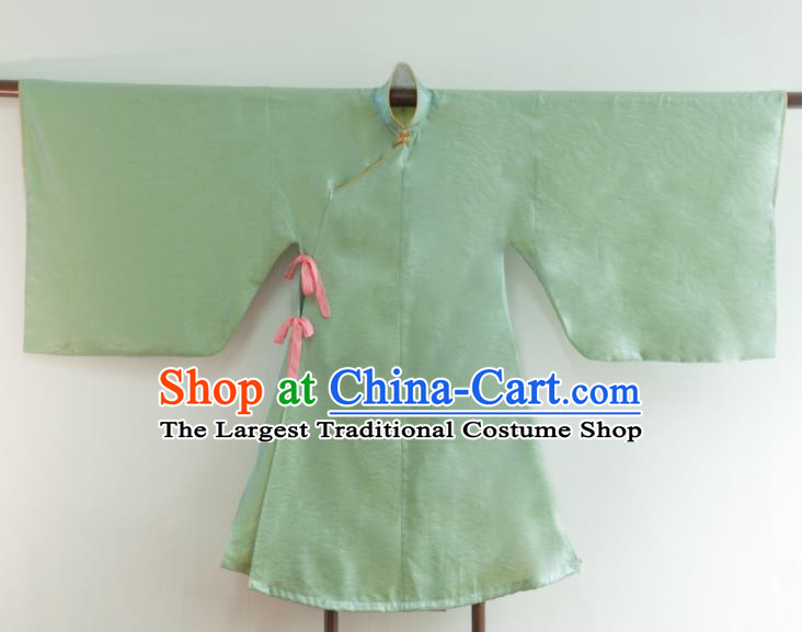 Chinese Ancient Princess Historical Costume Ming Dynasty Light Green Silk Blouse for Women
