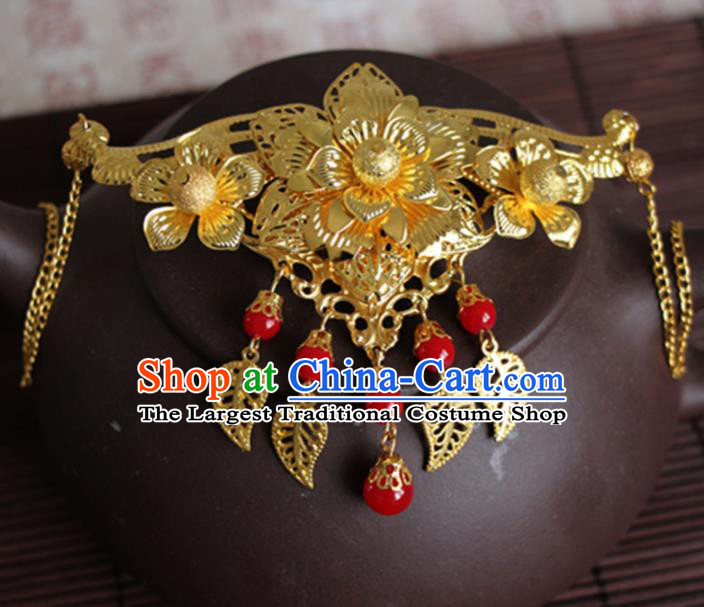 Chinese Traditional Wedding Hair Accessories Ancient Princess Golden Peony Tassel Hair Comb for Women