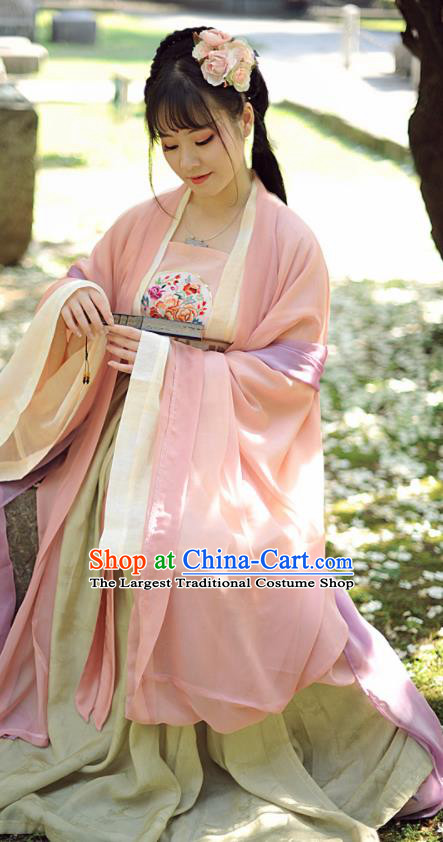 Chinese Ancient Peri Hanfu Dress Tang Dynasty Palace Princess Historical Costumes Complete Set for Women