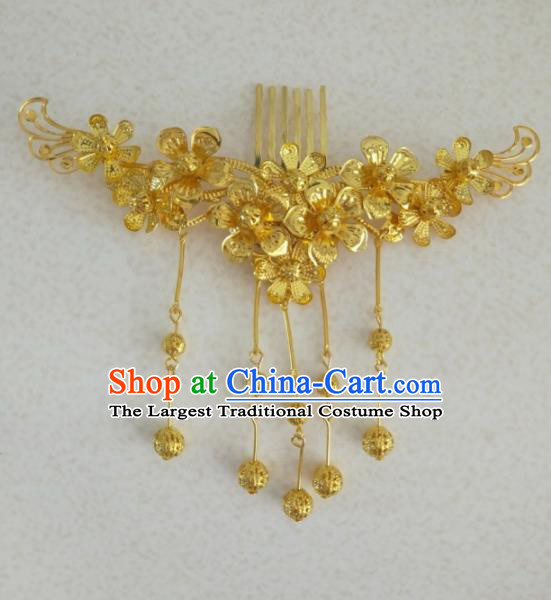 Chinese Traditional Wedding Hair Accessories Golden Flowers Hair Comb Ancient Princess Hairpins for Women