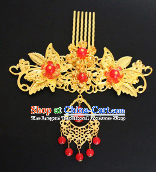 Chinese Traditional Hair Accessories Wedding Golden Leaf Hair Comb Ancient Princess Hairpins for Women