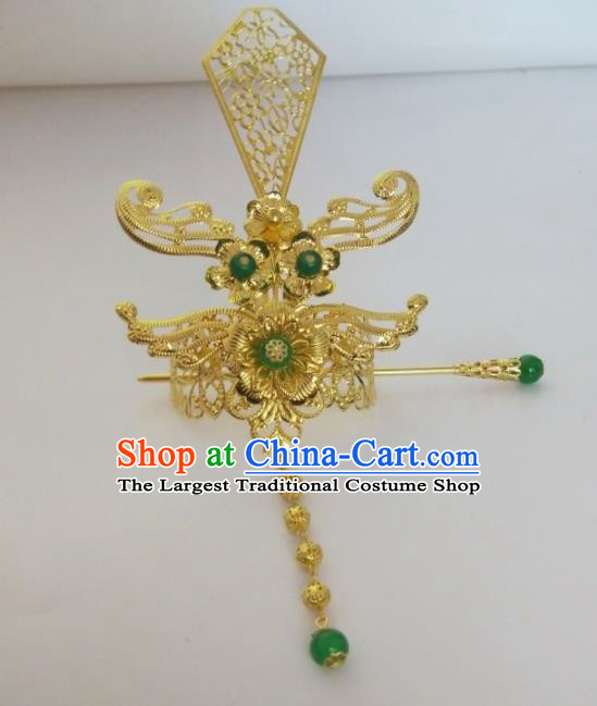 Chinese Traditional Nobility Childe Hair Accessories Hairpins Ancient Swordsman Green Beads Hairdo Crown for Men
