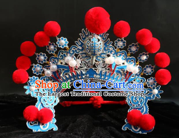 Chinese Traditional Beijing Opera Takefu Hat Peking Opera Warrior Red Venonat Helmet