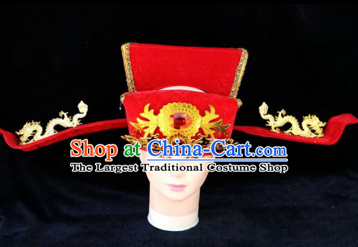 Chinese Traditional Beijing Opera Royal Highness Headwear Peking Opera Chancellor Red Hat