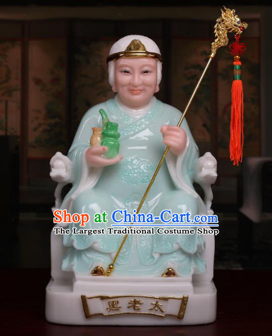 Chinese Traditional Religious Supplies Feng Shui Goddess Green Cloth Statue Taoism Decoration