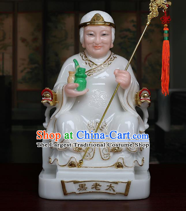 Chinese Traditional Religious Supplies Feng Shui Goddess White Cloth Statue Taoism Decoration