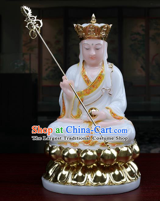 Chinese Traditional Religious Supplies Feng Shui Ksiti Garbha White Cloth Statue Buddhism Decoration