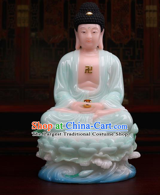 Chinese Traditional Religious Supplies Feng Shui Buddha Green Cloth Statue Buddhism Decoration