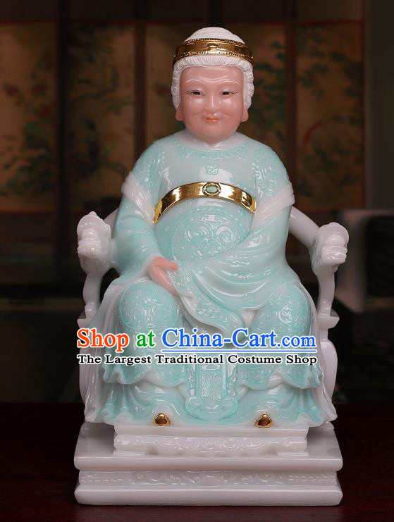 Chinese Traditional Religious Supplies Feng Shui Green Marble Taoism Earth Grandmother Decoration