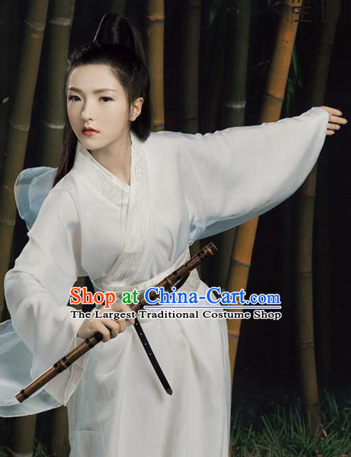 Chinese Ancient Drama Swordswoman White Hanfu Dress Traditional Ming Dynasty Heroine Costume for Women