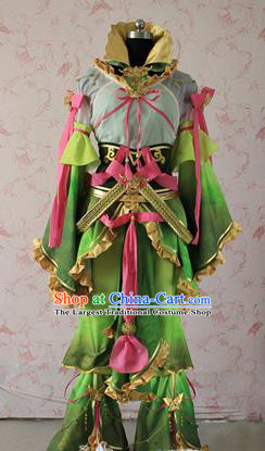 Chinese Traditional Cosplay Swordswoman Costume Ancient Peri Green Clothing for Women