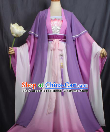 Chinese Ancient Female Swordsman Costume Traditional Cosplay Princess Purple Dress for Women