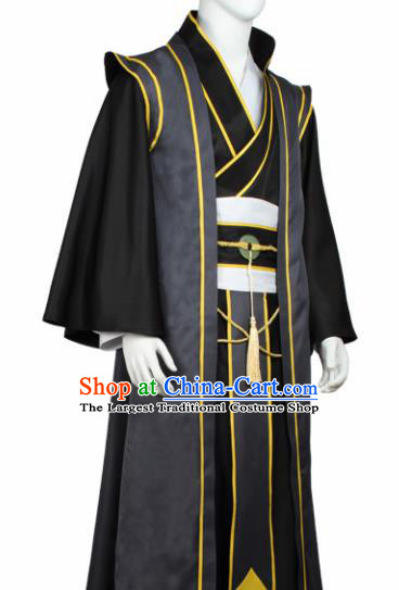 Chinese Ancient Imperial Bodyguard Black Costume Traditional Cosplay Swordsman Clothing for Men