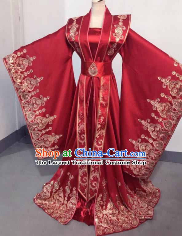 Traditional Chinese Qin Dynasty Queen Red Hanfu Dress Ancient Empress Wedding Historical Costume for Women