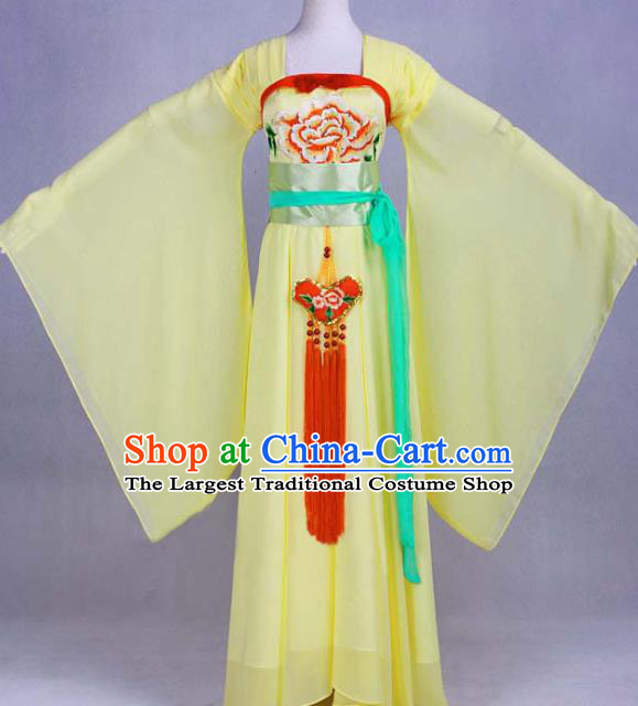 Traditional Chinese Tang Dynasty Court Maid Yellow Dress Ancient Peri Historical Costume