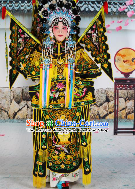 Traditional Chinese Beijing Opera Female General Black Costume Peking Opera Magic Warriors Clothing