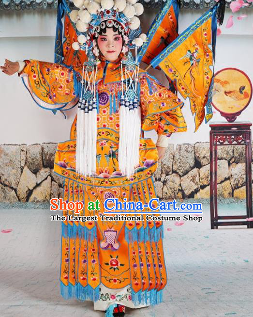 Traditional Chinese Beijing Opera Female General Golden Costume Peking Opera Magic Warriors Clothing