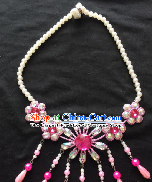Asian Chinese Beijing Opera Jewelry Accessories Pearls Pink Flower Necklace for Women