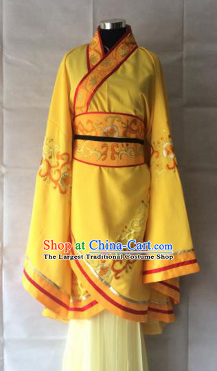 Traditional Chinese Beijing Opera Queen Costume Ancient Empress Yellow Dress for Women
