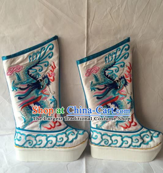 Asian Chinese Beijing Opera Takefu Embroidered Blue Dragon Boots Ancient Emperor Shoes for Men