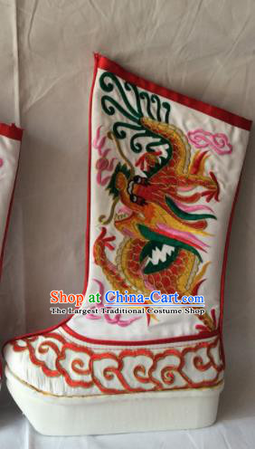 Asian Chinese Beijing Opera Takefu Embroidered Red Dragon Boots Ancient Emperor Shoes for Men