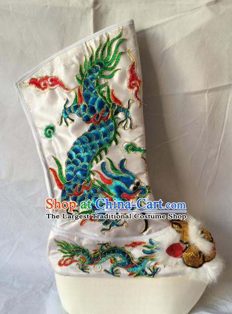 Asian Chinese Beijing Opera Takefu Embroidered Green Dragon Boots Ancient Emperor Shoes for Men