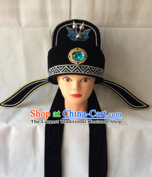 Asian Chinese Beijing Opera Niche Headwear Ancient Gifted Scholar Black Hat for Men