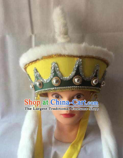 Asian Chinese Traditional Beijing Opera Headwear Ancient Soldier Yellow Hat for Men