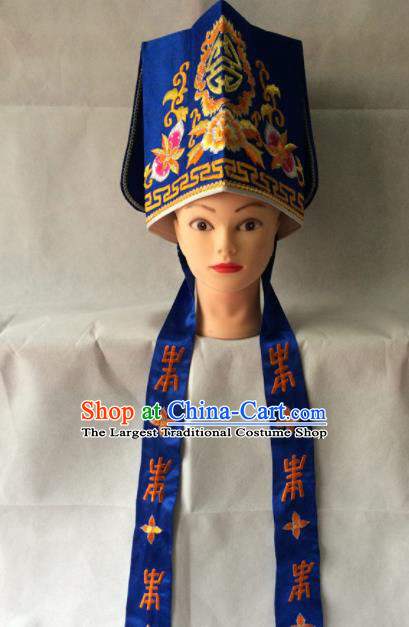 Asian Chinese Traditional Beijing Opera Old Men Headwear Ancient Landlord Royalblue Hat for Men