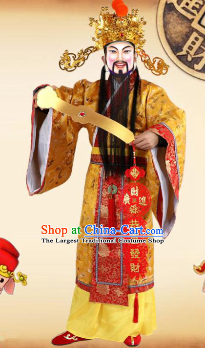 Traditional Chinese Beijing Opera God of Wealth Costume Peking Opera Golden Clothing and Hat