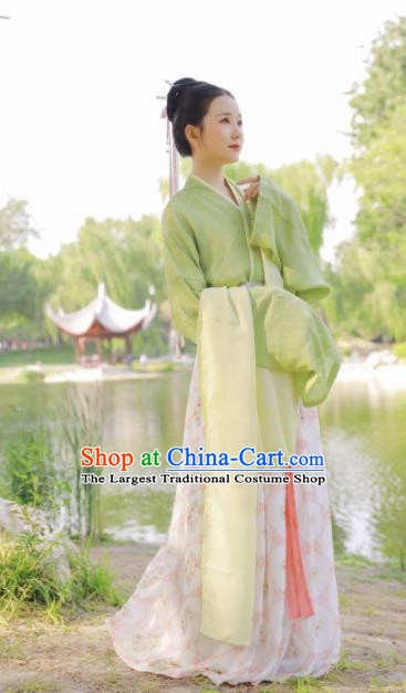 Chinese Traditional Song Dynasty Historical Costume Ancient Palace Princess Hanfu Dress for Women