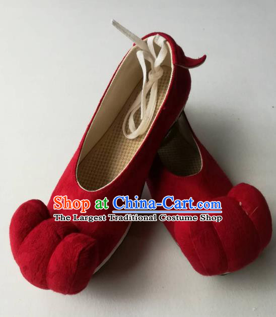 Asian Chinese Traditional Shoes Ancient Song Dynasty Red Shoes Hanfu Shoes for Women
