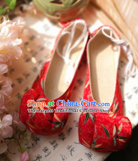 Asian Chinese Traditional Shoes Ancient Song Dynasty Princess Red Shoes Hanfu Shoes for Women