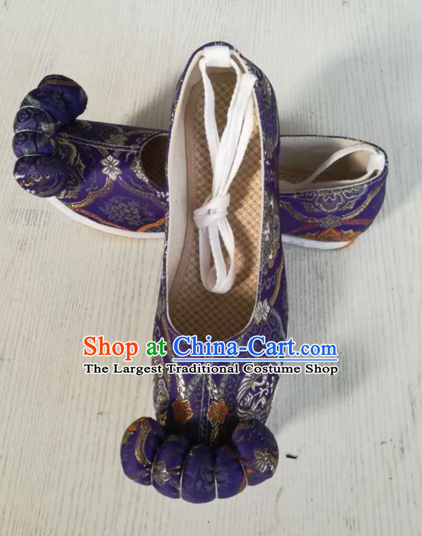 Asian Chinese Traditional Shoes Ancient Song Dynasty Wedding Purple Shoes Hanfu Shoes for Women
