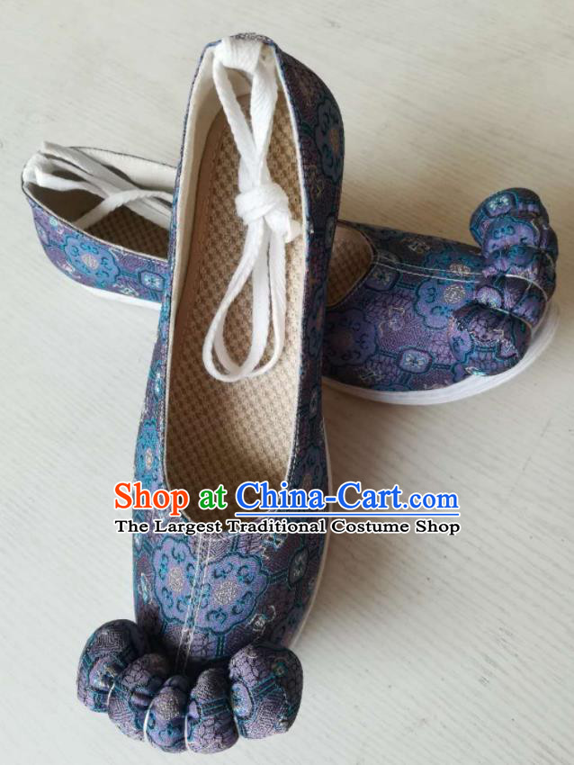 Asian Chinese Traditional Shoes Ancient Song Dynasty Wedding Navy Shoes Hanfu Shoes for Women