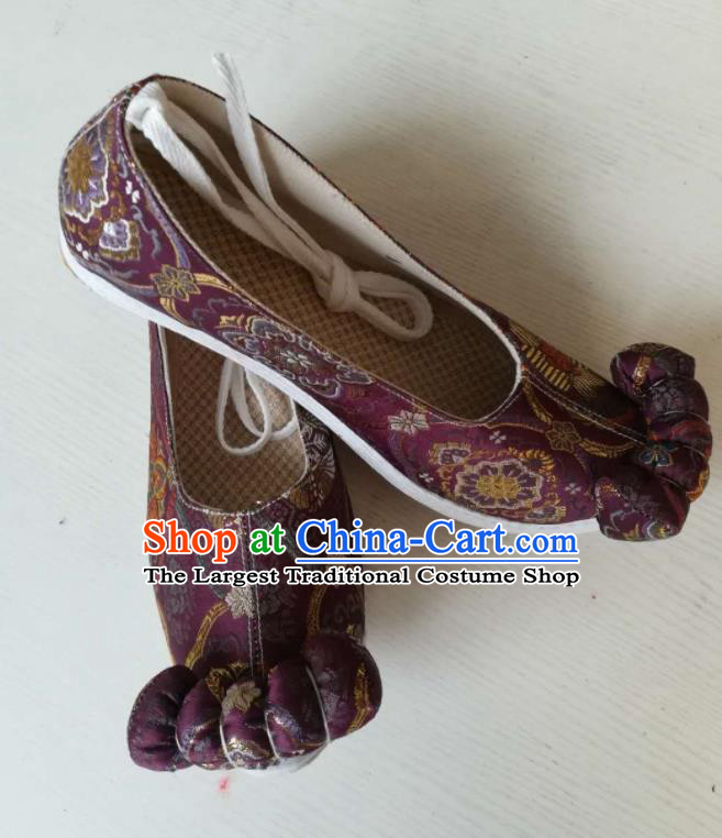 Asian Chinese Traditional Shoes Ancient Song Dynasty Purple Shoes Hanfu Shoes for Women