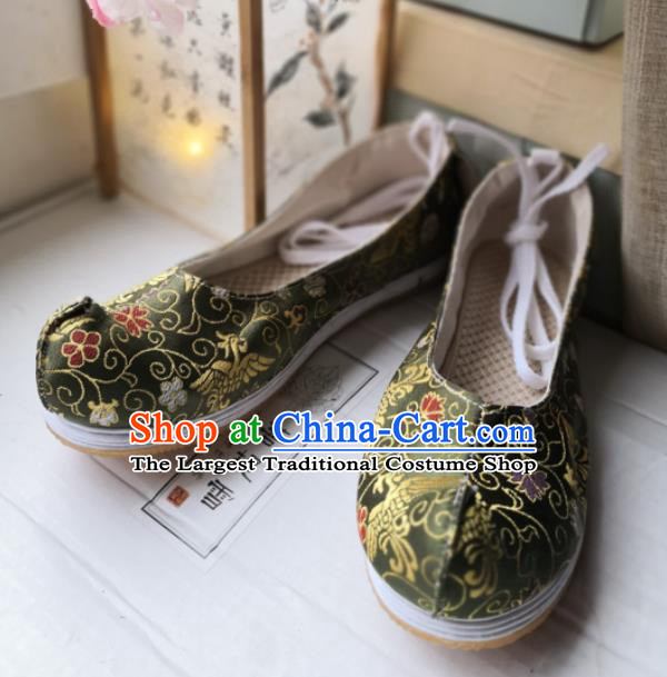 Asian Chinese Traditional Shoes Ancient Song Dynasty Green Brocade Shoes Hanfu Shoes for Women