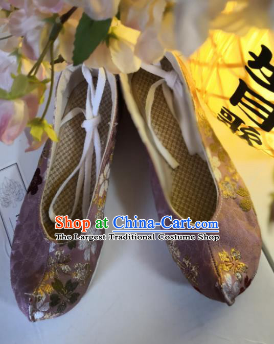 Asian Chinese Traditional Shoes Ancient Song Dynasty Purple Brocade Shoes Hanfu Shoes for Women