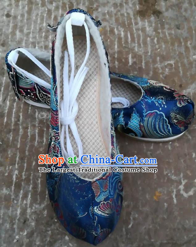 Asian Chinese Traditional Shoes Ancient Song Dynasty Blue Brocade Shoes Hanfu Shoes for Women